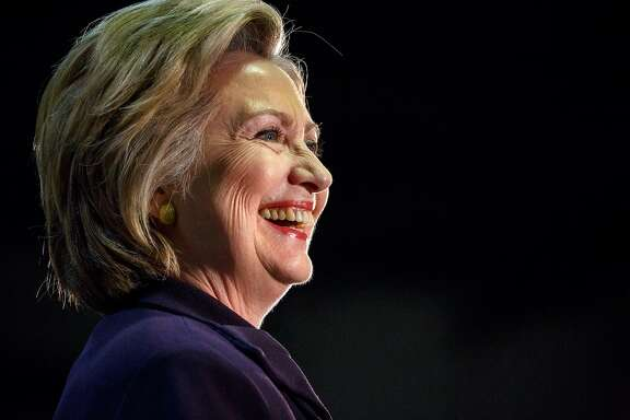 Hillary Clinton speaks during a campaign event at Camden County College in Blackwood, N.J., May 11, 2016. Clinton mocked Donald Trump, the prospective Republican nominee, as evasive and secretive for suggesting he would break with precedent and not release his tax returns. �So you�ve got to ask yourself, why doesn�t he want to release them?� Clinton said. �Yeah, well, we�re going to find out.� (Richard Perry/The New York Times)