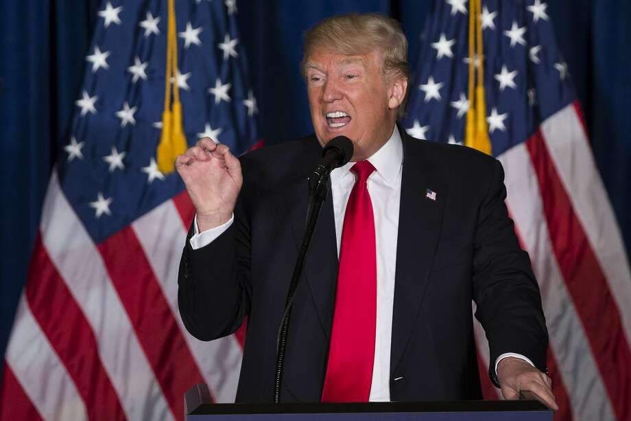 Republican presidential candidate Donald Trump gives a foreign policy speech at the Mayflower Hotel in Washington, Wednesday, April 27, 2016. Trump's highly anticipated foreign policy speech Wednesday will test whether the Republican presidential front-runner, known for his raucous rallies and eyebrow-raising statements, can present a more presidential persona as he works to unite the GOP establishment behind him. (AP Photo/Evan Vucci) Photo: Evan Vucci, Associated Press