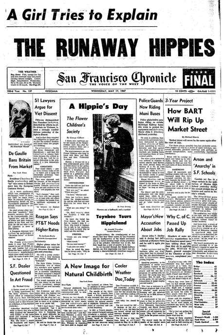 The Chronicle's front page from May 17, 1967, covers Market Street's unearthing for BART and the Haight-Ashbury scene.