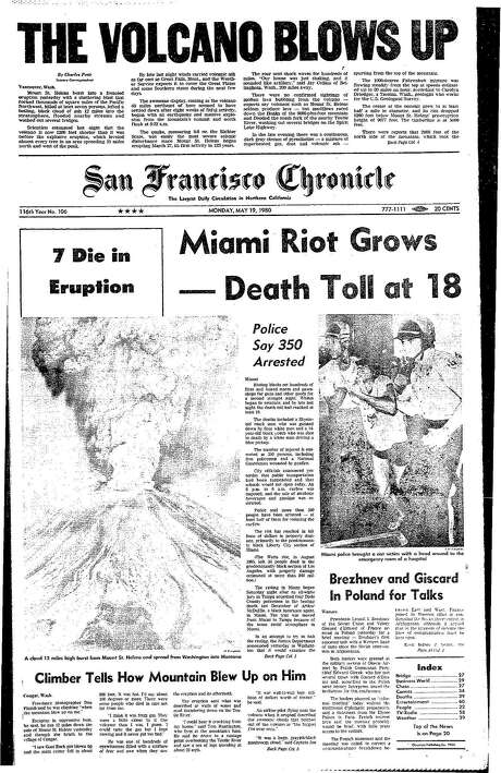 The Chronicle's front page from May 19, 1980, covers the eruption of Mount St. Helens.