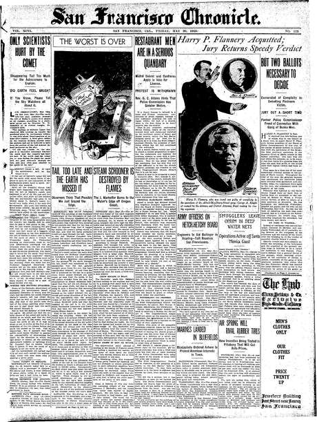 The Chronicle's front page from May 20, 1910, covers the Halley's Comet fly-by.