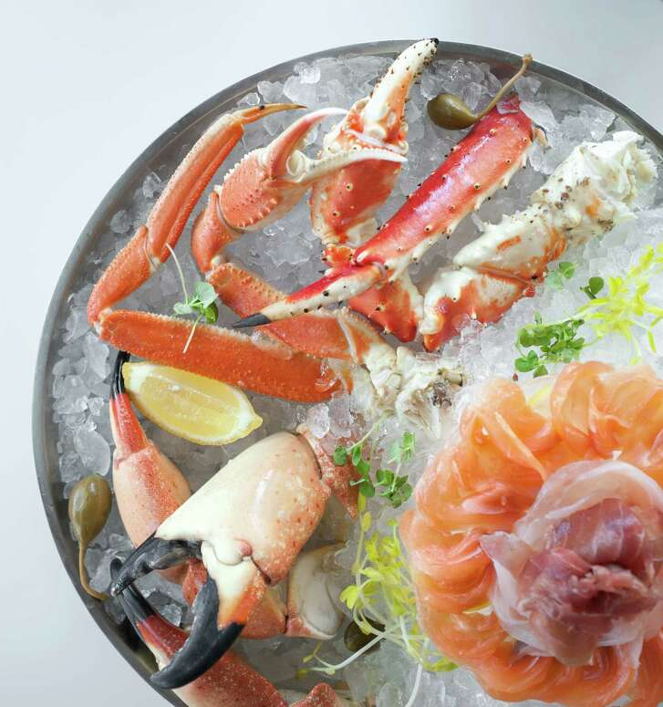 The raw bar at Peska offers a bounty of fresh seafood.