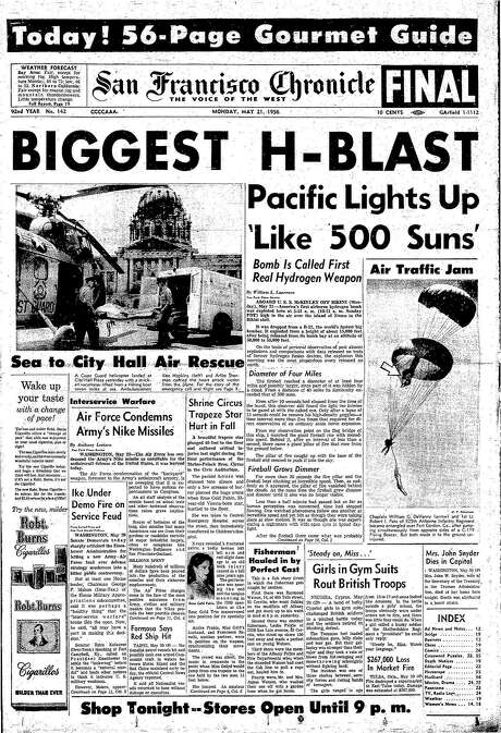 The Chronicle's front page from May 21, 1956, covers a hydrogen bomb test.