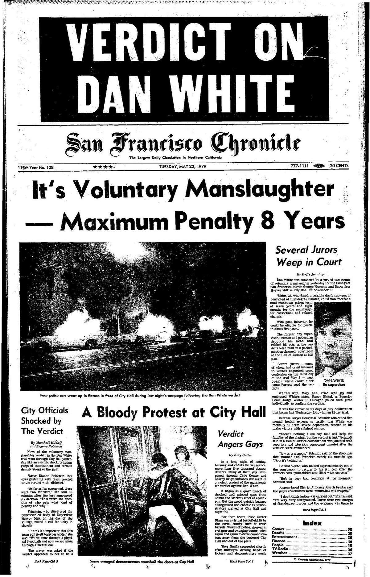 Historic Chronicle Front Page May 22, 1979 Dan White Verdict sets off violent protests Chron365, Chroncover