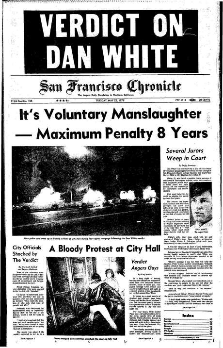 The Chronicle's front page from May 22, 1979, covers the Dan White verdict.