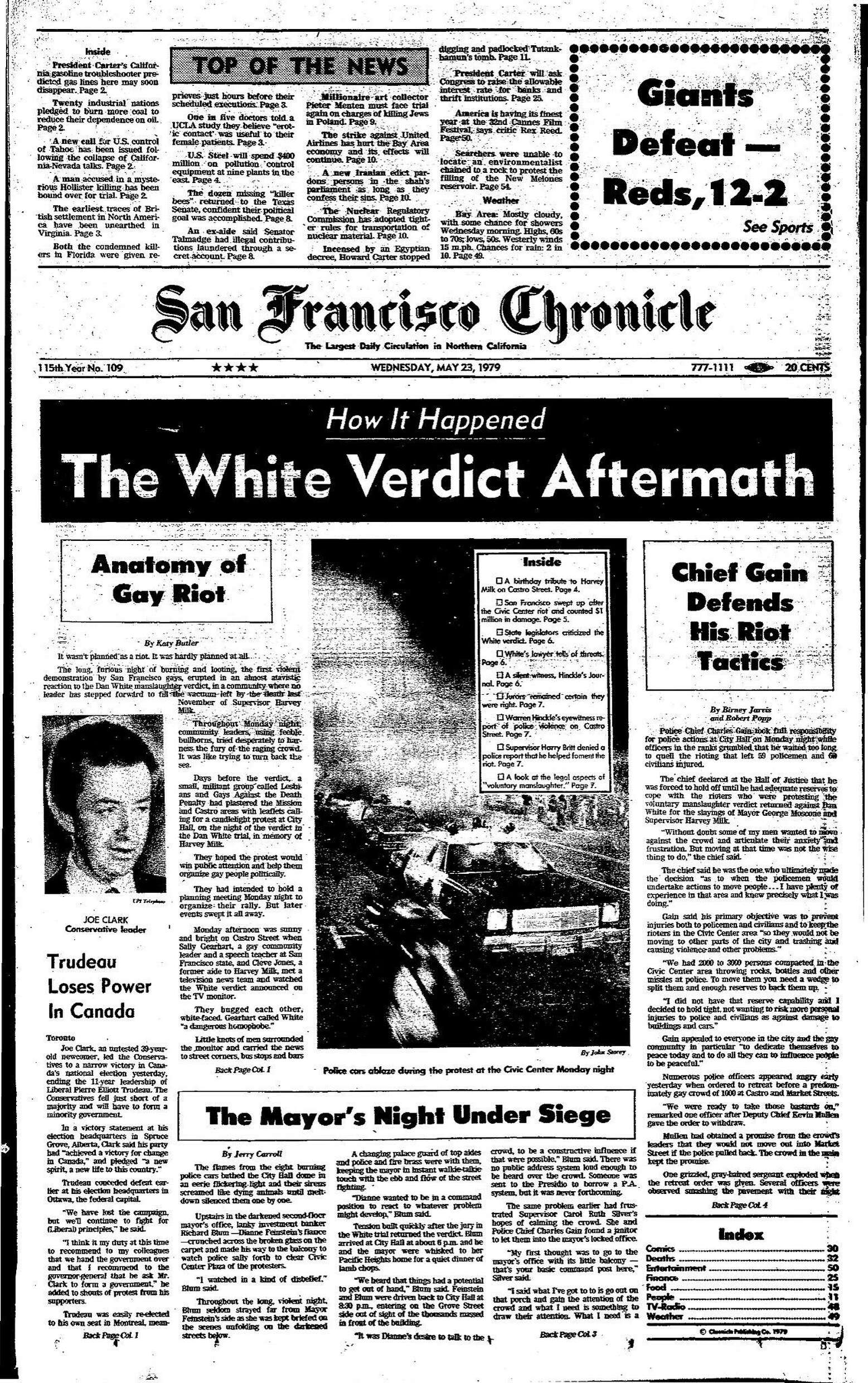 Chronicle Covers: The aftermath of the White Night Riots ...