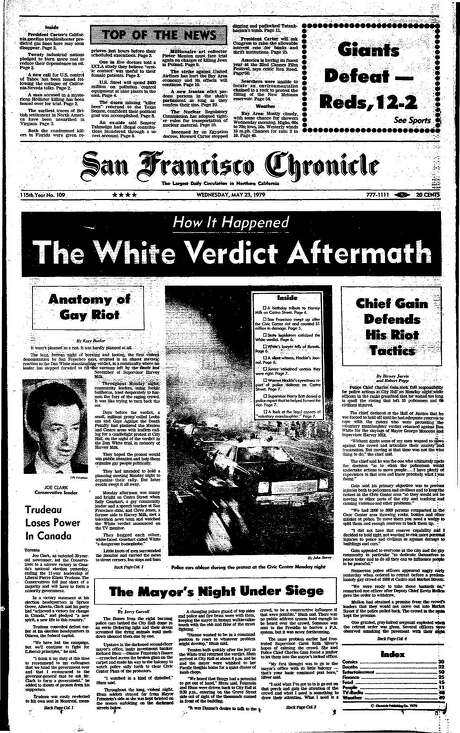 The Chronicle's front page from May 23, 1979, covers the aftermath of the White Night Riots in San Francisco.