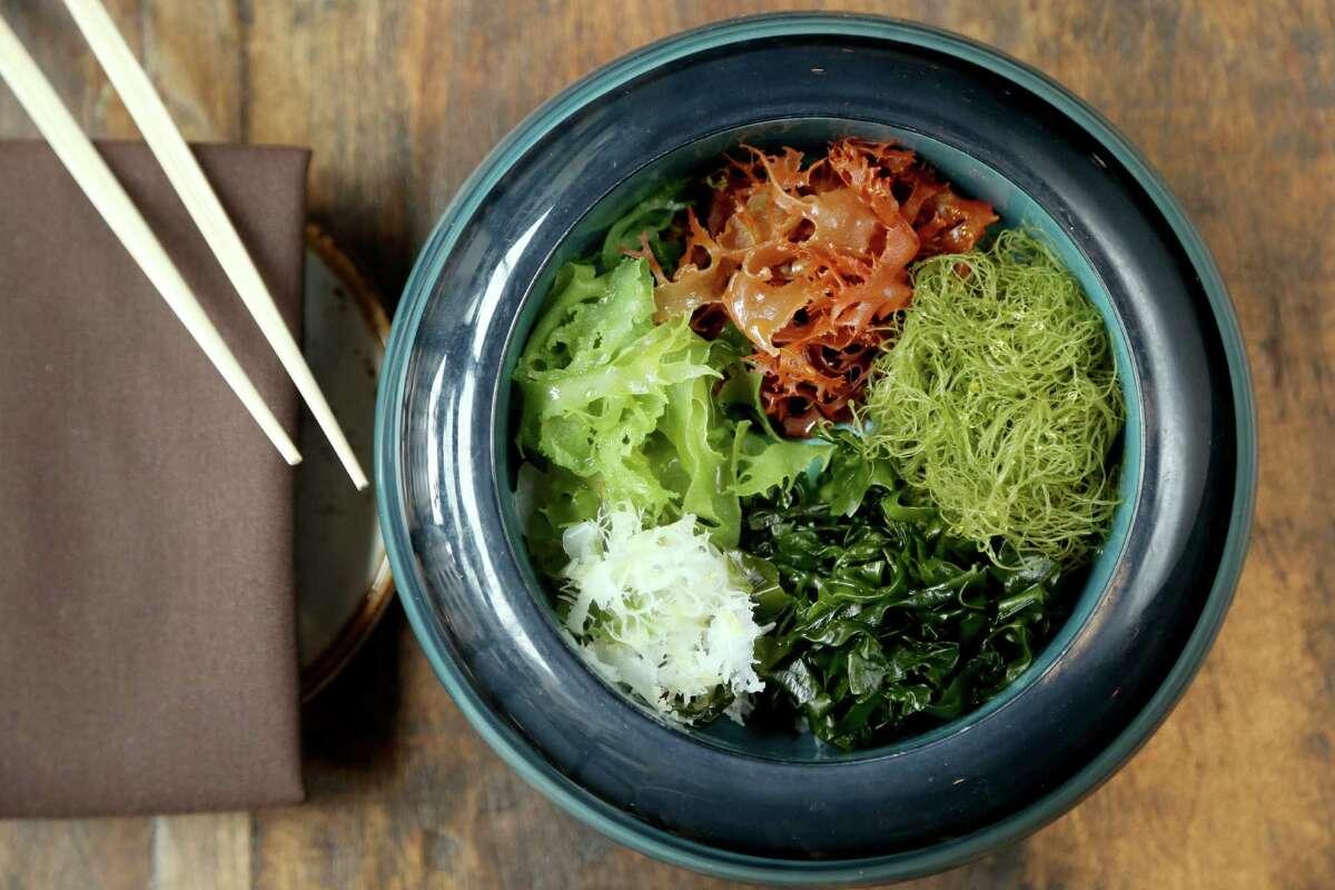 Fresh Seaweed Salad served with sesame dressing or dash vinaigrette at Izakaya