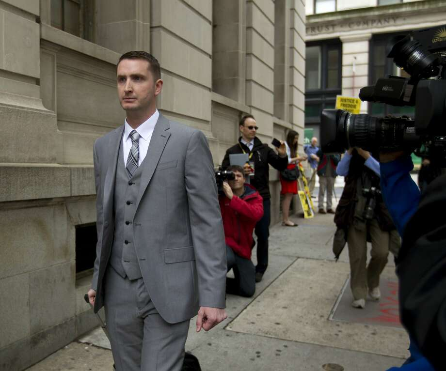 Police officer Edward Nero, who faces assault, misconduct in office and reckless endangerment charges, arrives at a Baltimore courthouse. Photo: Jose Luis Magana, Associated Press