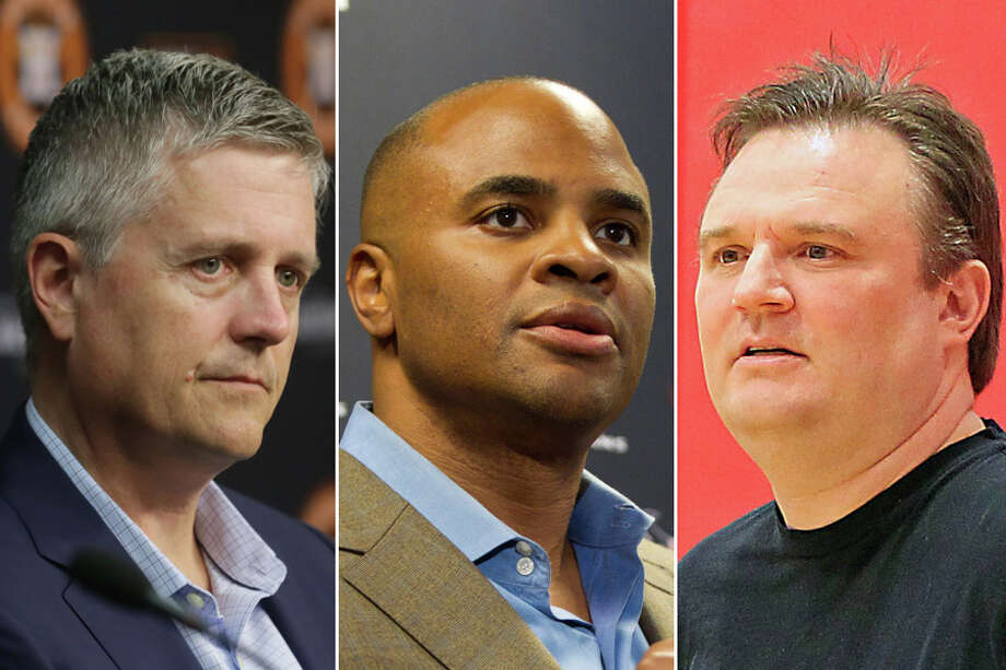 The Astros' Jeff Luhnow (from left), Texans' Rick Smith and Rockets' Daryl Morey are the general managers of Houston's three major sports teams.