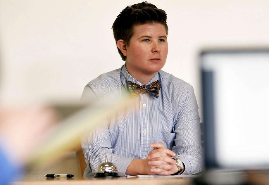 Gabriel Bodenheimer, in class on Thurs. May 12, 2016, is a teacher and the English Department chair at Mercy Catholic High School for girls in San Francisco, California. Photo: Michael Macor, The Chronicle