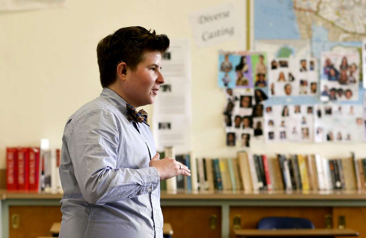 Gabriel Stein-Bodenheimer, in class on Thurs. May 12, 2016, is a teacher and the English Department chair at Mercy High School for girls in San Francisco, California. Stein-Bodenheimer is transitioning from female to male and wanted to come out about it.