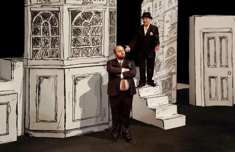 "Benjamin Scharff (from left) and Erin Polewski star in ""One Man, Two Guvnors"" at the Sheldon Vexler Theatre. Photo: Courtesy Dylan Brainard"