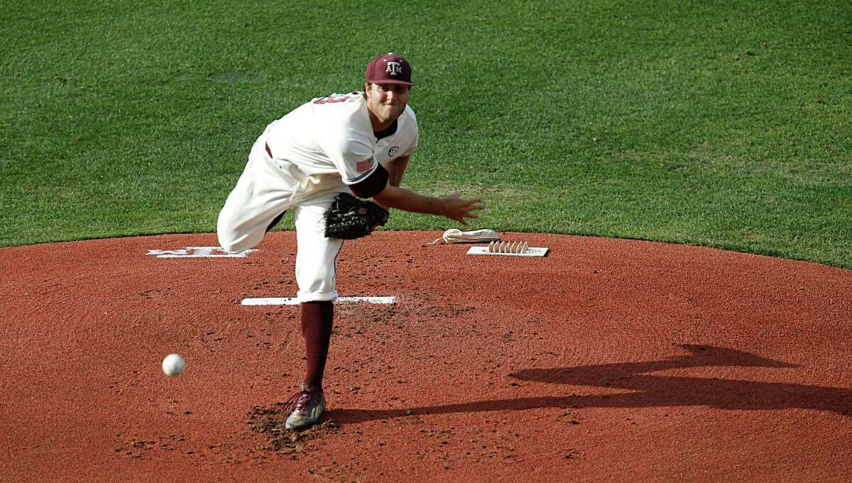 Texas A&M pitcher Turner Larkins throws a pitch against Vanderbilt during the first inning of college baseball game action at Blue Bell Park Thursday, May 5, 2016, in College Station. ( James Nielsen / Houston Chronicle )
