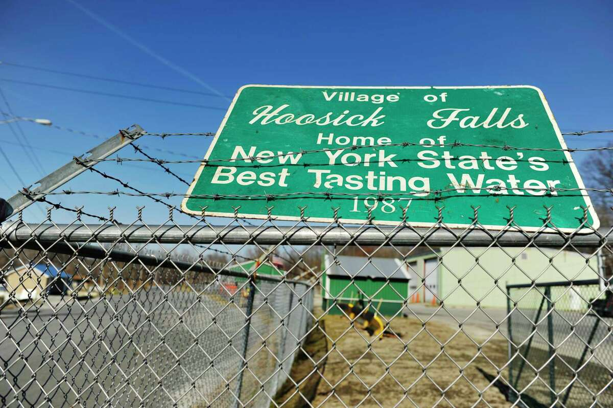 A sign near the water treatment plant on Wednesday, Nov. 25, 2015, in Hoosick Falls, N.Y. (Paul Buckowski / Times Union)