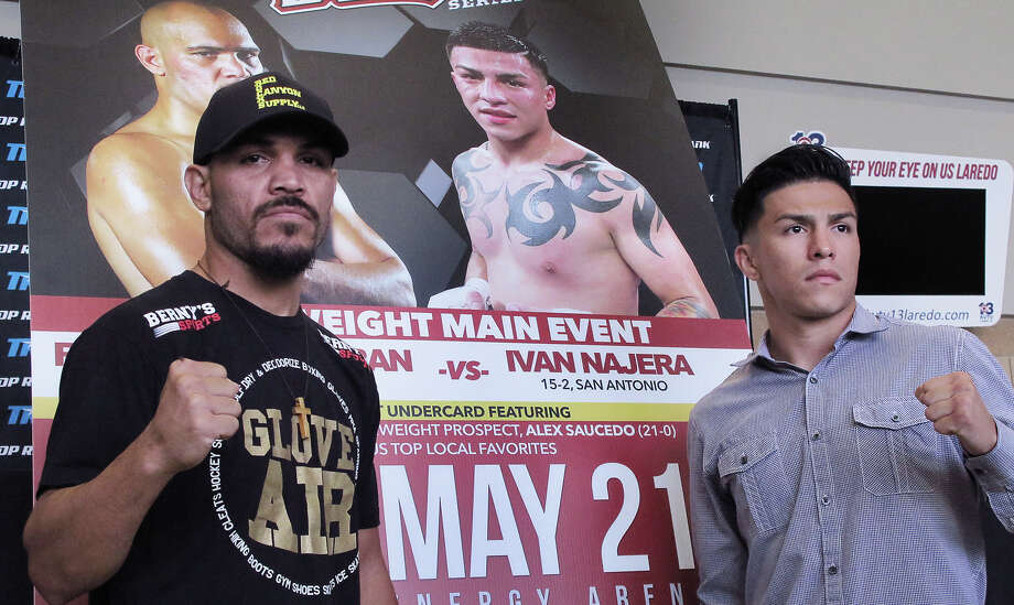 Lightweight boxers Raymundo Beltran (left) and Ivan Najera will be the main event for the Top Rank Boxing Series matches at Laredo Energy Arena on May 21. Photo: Cuate Santos /Laredo Morning Times / LAREDO MORNING TIMES