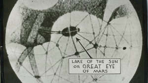 "July 22, 1939 caption read: ""Plant life on Mars?... Inverted as seen through an astronomical telescope, this drawing of Mars shows the Lake of the Sun, which according to color photographs, has changed its shape and is dark blue and green. The photo, made in South Africa by Earl Slipher, American, aparently proves the presence of plant life on Mars. Hurtling through space, the baleful ruddy-colored planet rapidly is coming closer to Earth than at any time in the last 15 years. Its spatial path is destined to bring Mars to within 36,030,000 miles of the Earth -- a moment for which the astronomical world breathlessly awaits."" International News Photos."