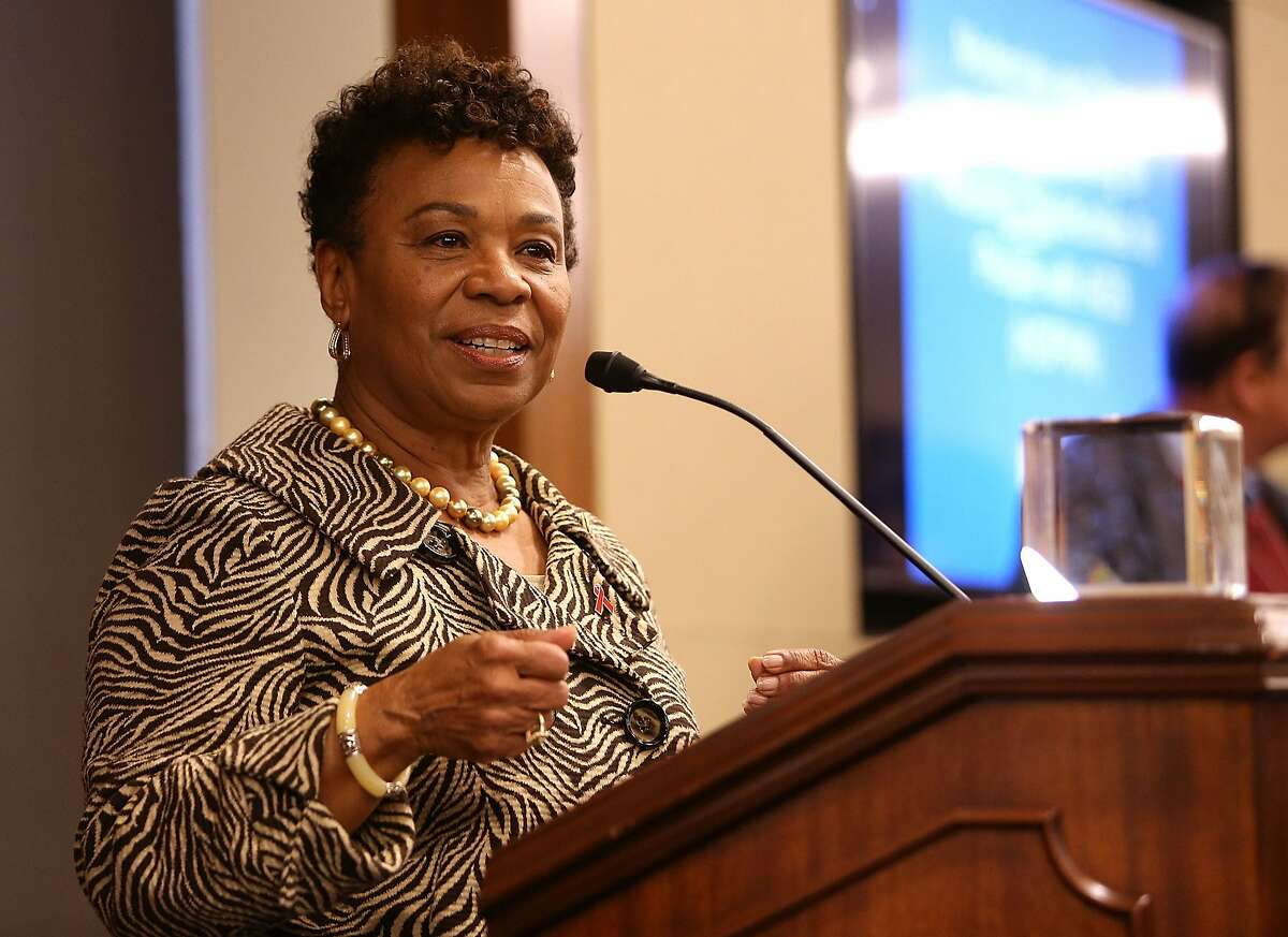 WASHINGTON, DC - FEBRUARY 29: Rep. Barbara Lee (D-CA) accepts the Elizabeth Taylor Legislative Leadership Award at the AIDSWatch 2016 Positive Leadership Award Reception at the Rayburn House Office Building on February 29, 2016 in Washington, DC. (Photo by Paul Morigi/Getty Images for The Elizabeth Taylor AIDS Foundation)