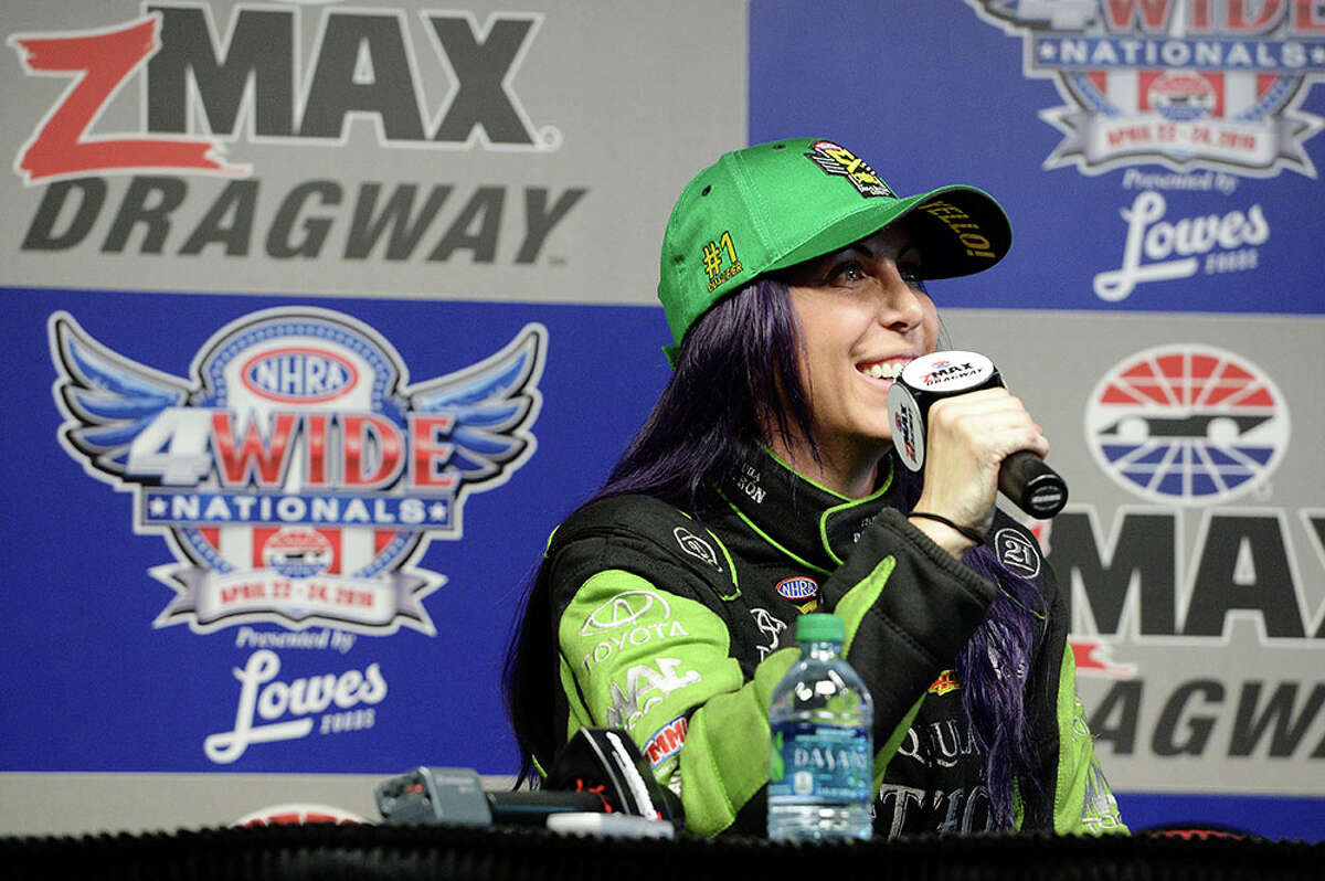 Alexis DeJoria headed to Baytown to race in the Spring Nationals at Royal Purple Raceway.