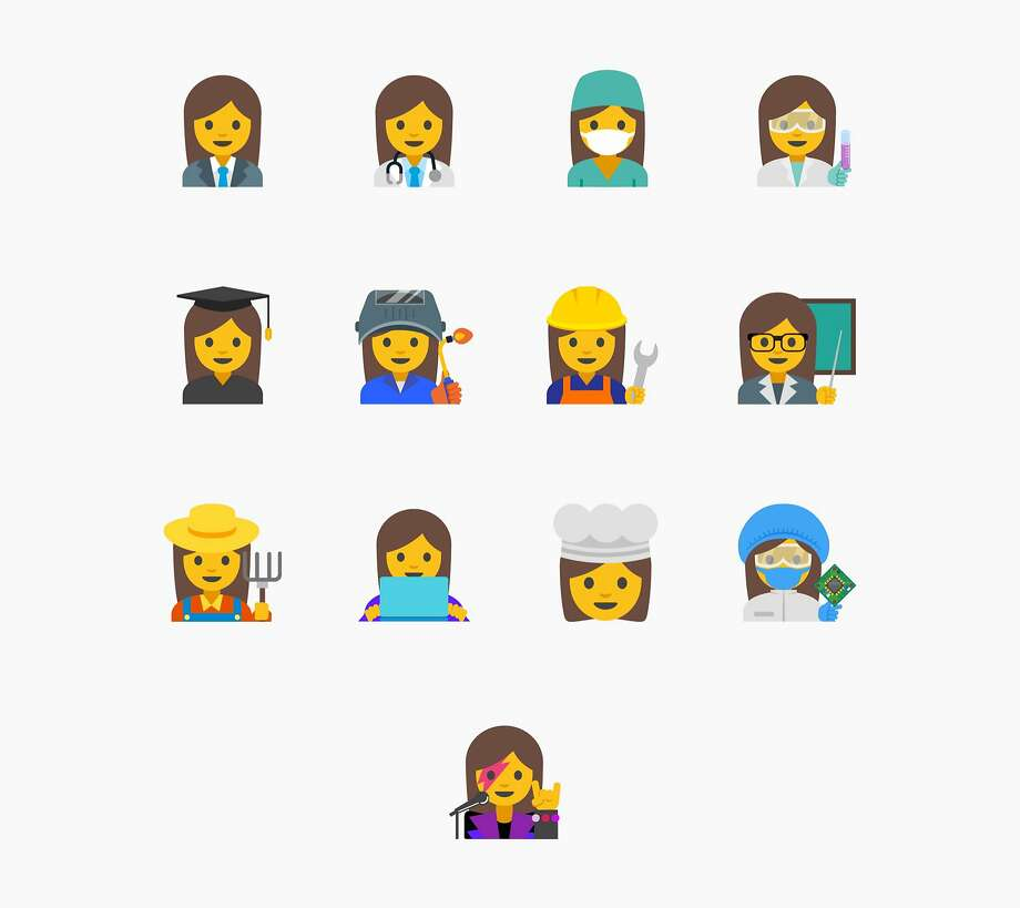 """This image provided by Google shows proposed female emojis. Google said it wants to create a new set """"with a goal of highlighting the diversity of women's careers and empowering girls everywhere."""" (Google via AP) Photo: Associated Press"""