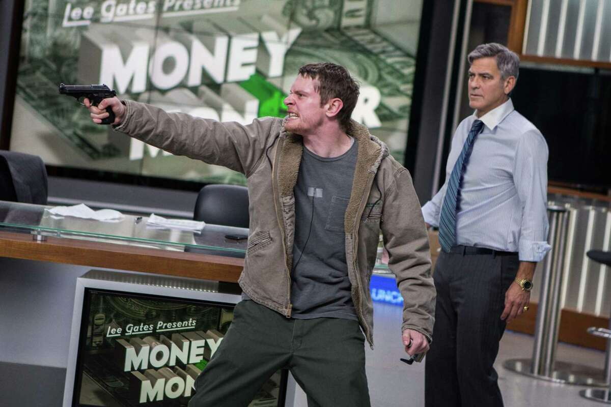 """Jack O'Connell, left, and George Clooney star in """"Money Monster."""""""