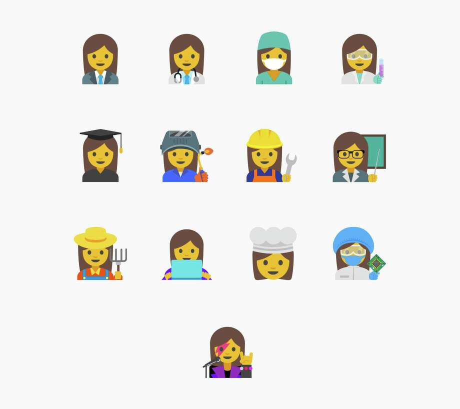 """This image provided by Google shows proposed female emojis. Google said it wants to create a new set """"with a goal of highlighting the diversity of women's careers and empowering girls everywhere."""" Photo: Courtesy Google /Associated Press / Google"""