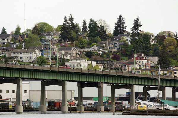 Houses seem stacked on top of one another in Queen Anne above the Ballard Bridge, on April 15, 2016.