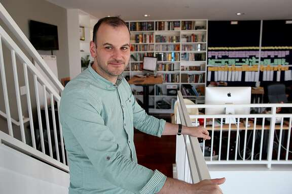 Wefunder cofounder and CEO Nick Tommarello shows his home office in San Francisco, California, on thursday, may 12, 2016.