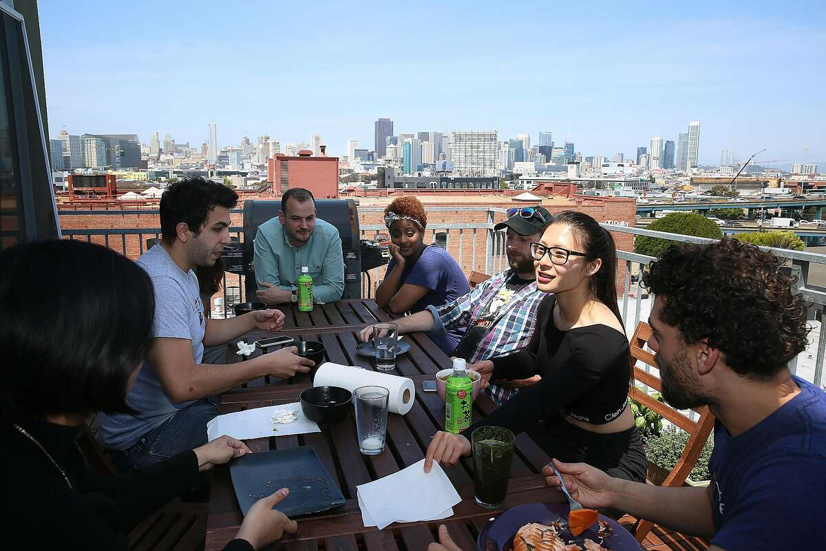 Wefunder staff have a lunch on the patio of their office in San Francisco, California, on thursday, may 12, 2016.