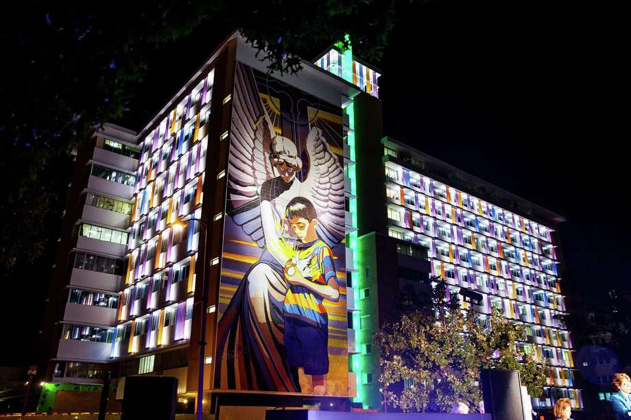 Sister Michelle O'Brien, of Sisters of Charity of the Incarnate Word, delivers a closing prayer during the lighting ceremony of of The Children's Hospital of San Antonio, Tuesday Nov. 3, 2015. There are 1,000 colorful channel glass LED panels outside of the hospital. In addition to the ceremony, The Children's Hospital of San Antonio Foundation will also announced its fundraising campaign, securing $73,100,000 out of a $80,000,000 goal by December 31, 2016. In attendance of the lighting ceremony were, The Children's Hospital of San Antonio Representatives, The Children's Hospital of San Antonio Foundation Campaign Chairs, CHRISTUS Santa Rosa Health System Representatives, Sisters of Charity of the Incarnate Word, and hospital patients looking out from the windows. / Julysa Sosa / For The San Antonio Express-News