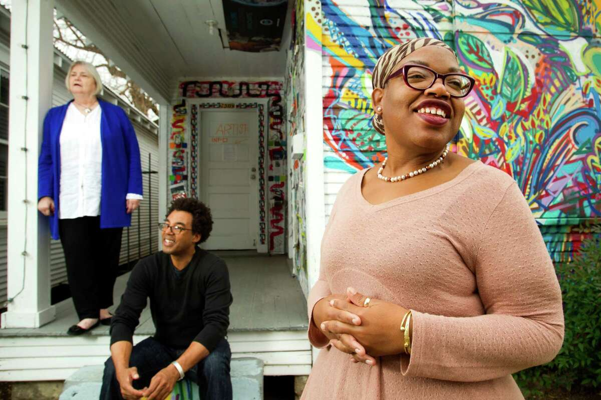 """Assata Richards, right, who has worked with Project Row Houses, says some """"in the social structure ... say buildings are more important than people."""""""