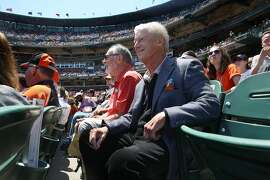 San Francisco Giant's former managing general partner Peter Magowan watches a game in San Francisco, California, on wednesday afternoon, may 11, 2016.