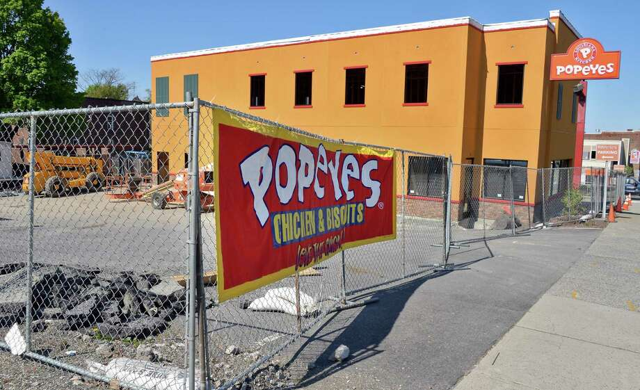 Construction progresses on the new Popeye's restaurant at Hoosick and 17th Streets Wednesday May 11, 2016 in Troy, NY.  (John Carl D'Annibale / Times Union) Photo: John Carl D'Annibale / 20036558A