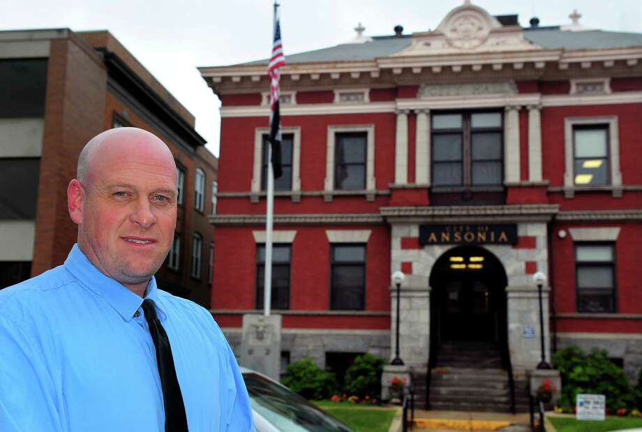 Ansonia Assistant Fire Chief Edward Adamowski in front of city hall during his campaign last fall for mayor Photo: Christian Abraham / Hearst Connecticut Media / Connecticut Post