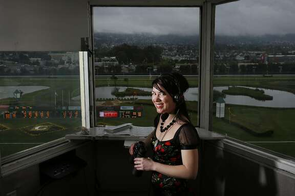 Angela Hermann, the first full-time female race-caller in the U.S., pictured in her booth above the race track at Golden Gate Fields May 7, 2016 in Berkeley, Calif.