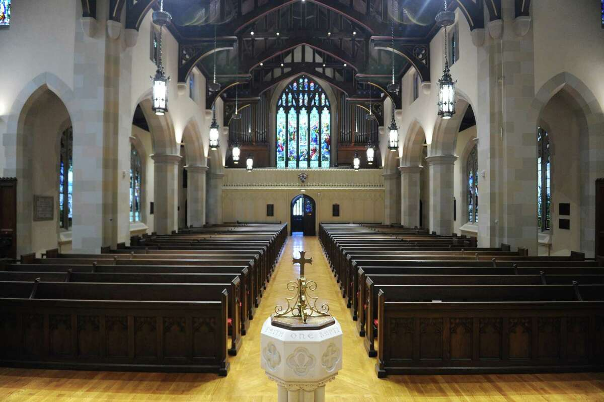 Recent preservation work at Christ Church includes renovated stained glass, painted ceilings and new pews in the sanctuary.