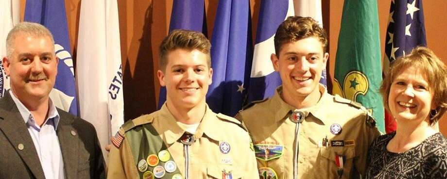 Carl Kernochan(second from left), of Troop 1 in Ballston Spa, received his Eagle Scout Award at a recent Court of Honor held at the New York State Military Museum.  Pictured with Kernochan are: George Kernochan, Jr.,father(left); Christine Kernochan, mother(right); and Eagle Scout George Kernochan III, brother(second from right). ORG XMIT: fnkaZMmjEOkW2GNCXtfi