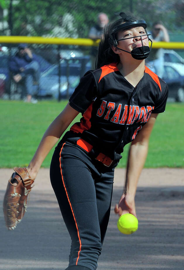 Stamford pitcher Sara Staley delivers during the first inning of a FCIAC girls softball game against Trumbull at Stamford High School on Thursday, May 12, 2016. Stamford top Trumbull 3-2 following Staley scoring the game winning run in the 11th inning. Photo: Matthew Brown / Hearst Connecticut Media / Stamford Advocate