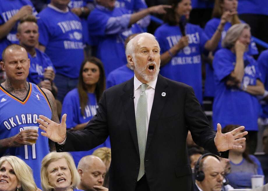 San Antonio Spurs head coach Gregg Popovich gestures in the first quarter of Game 6 of a second-round NBA basketball playoff series against the Oklahoma City Thunder in Oklahoma City, Thursday, May 12, 2016. (AP Photo/Alonzo Adams) Photo: Associated Press