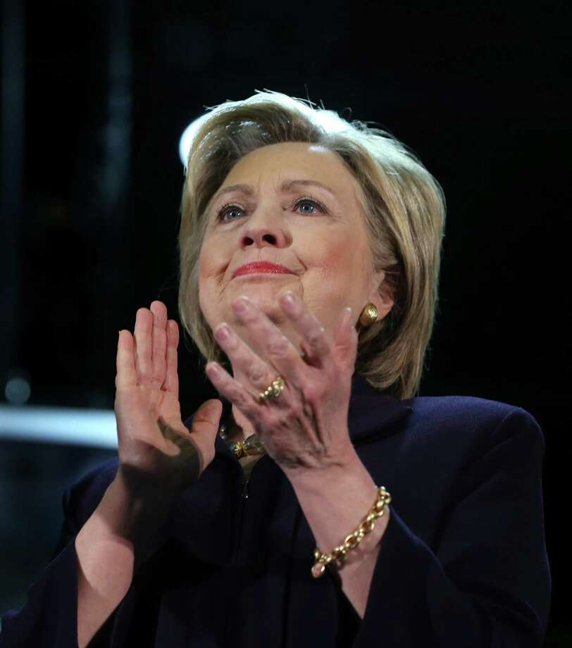 Democratic presidential candidate Hillary Clinton applauds during a campaign rally Wednesday, May 11, 2016 in Blackwood, N.J. (AP Photo/Mel Evans)   ORG XMIT: NJME109 Photo: Mel Evans / AP