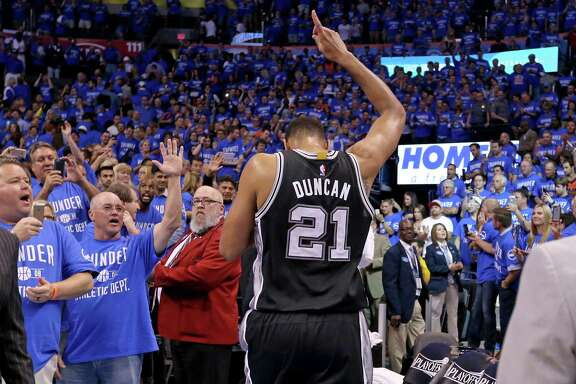 Spurs' Tim Duncan walks off the court after a series-deciding Game 6 loss in the Western Conference semifinals against the Thunder on May 12, 2016 at Chesapeake Energy Arena in Oklahoma City.