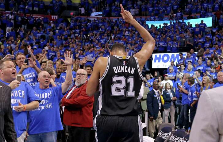 San Antonio Spurs' Tim Duncan walks off the court after Game 6 in the Western Conference semifinals Oklahoma City Thunder Thursday May 12, 2016 at Chesapeake Energy Arena in Oklahoma City, Oklahoma. The Thunder won 113-99.