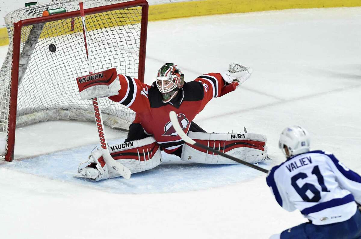 Devils' goaltender Scott Wedgewood makes a save during Game 5 of the American Hockey League quarterfinal playoff series against the Marlies on Thursday, May 12, 2016, at Times Union Center in Albany, N.Y. (Cindy Schultz / Times Union)