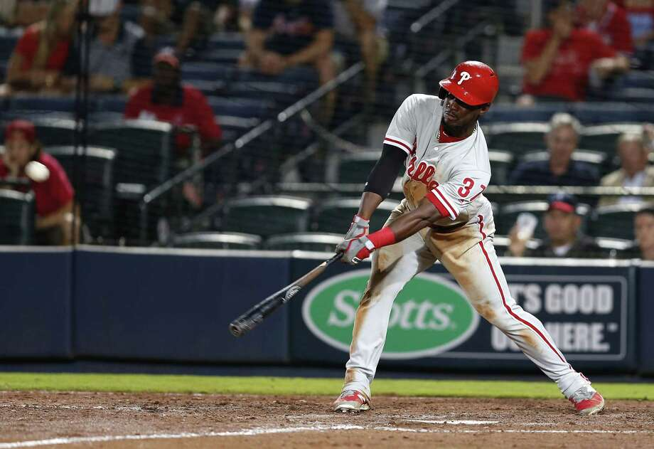 ATLANTA, GA - MAY 12:  Centerfielder Odubel Herrera #37 of the Philadelphia Phillies hits a triple in the tenth inning during the game against the Atlanta Braves at Turner Field on May 12, 2016 in Atlanta, Georgia.  (Photo by Mike Zarrilli/Getty Images) ORG XMIT: 607677543 Photo: Mike Zarrilli / 2016 Getty Images