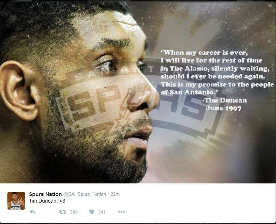 "@SA_Spurs_Nation ""When my career is over, I will live for the rest of time in The Alamo, silently waiting, should I ever be needed again. This is my promise to the people of San Antonio."" Photo: Twitter Screen Shots"
