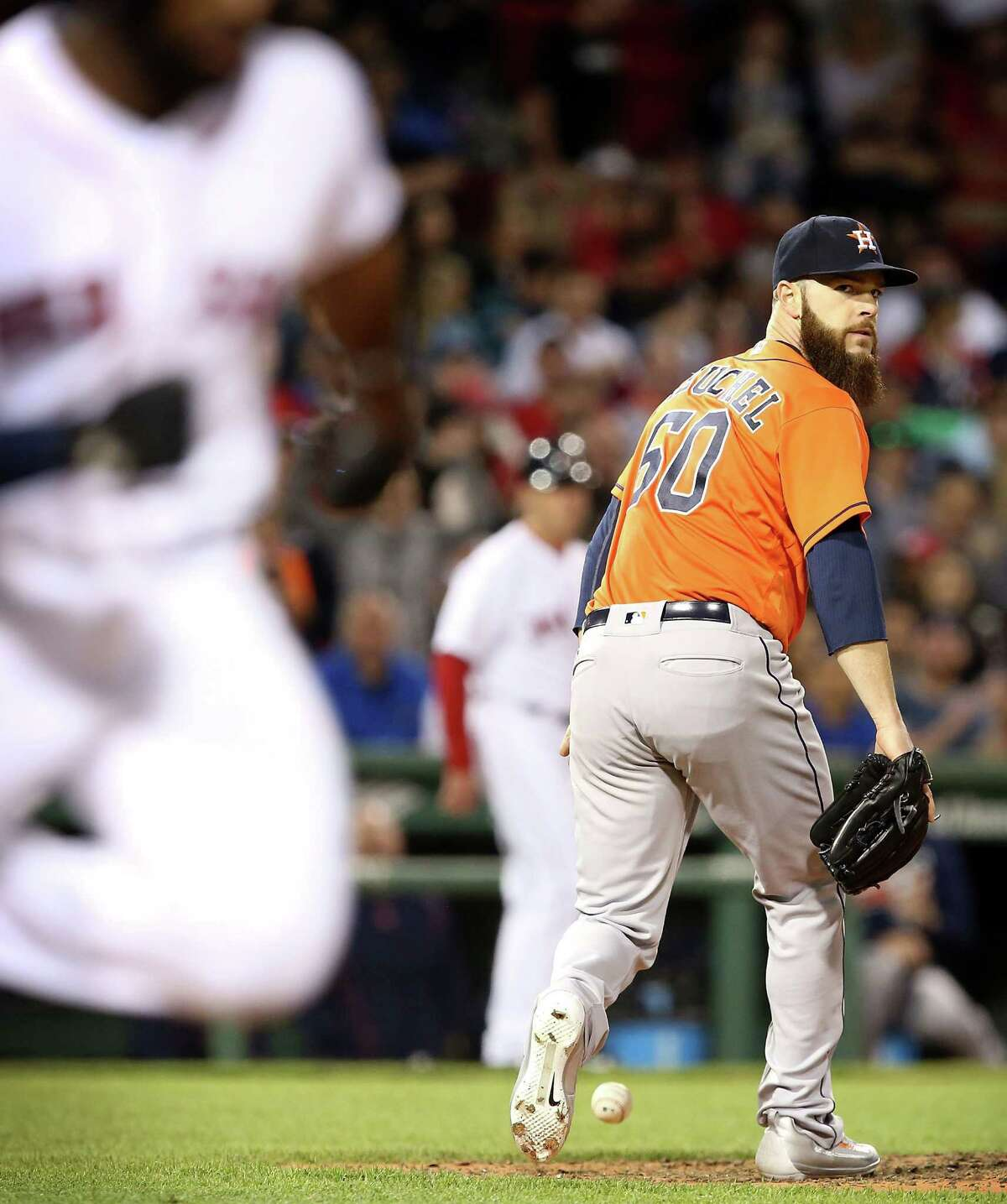 What else can go wrong for Dallas Keuchel? Winless in his last five starts, he couldn't retire Boston's Jackie Bradley Jr. on a soft sixth-inning grounder to the mound Thursday night. Bradley was 2-for-4, extending his hitting streak to 18 games.