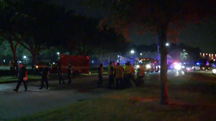 A stolen ambulance was found crashed into a tree at South Braeswood and Stadium Drive, about half a mile north of NRG Stadium, Friday, May 13, 2016. No one was in the ambulance. Photo: Screen Shots Via Metro Video