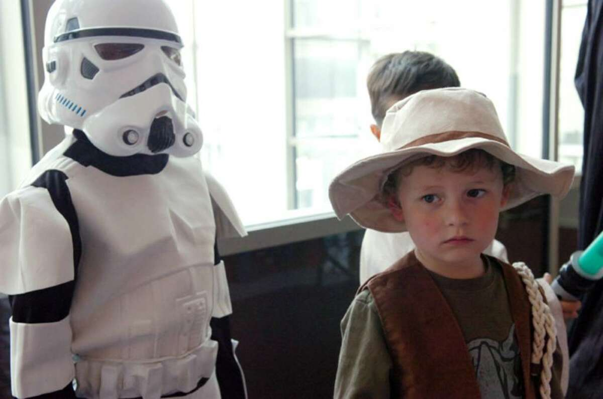 Nick Davi, 4, brings Indiana Jones to the competition in a costume contest before the Stamford Symphony concert