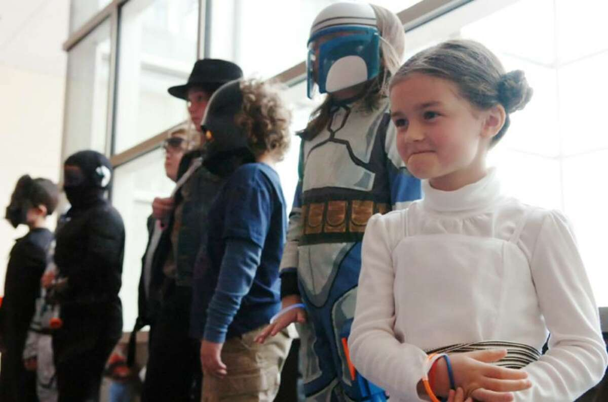 Makena Davi, 7, competes as Princess Leia in a costume contest before the Stamford Symphony concert