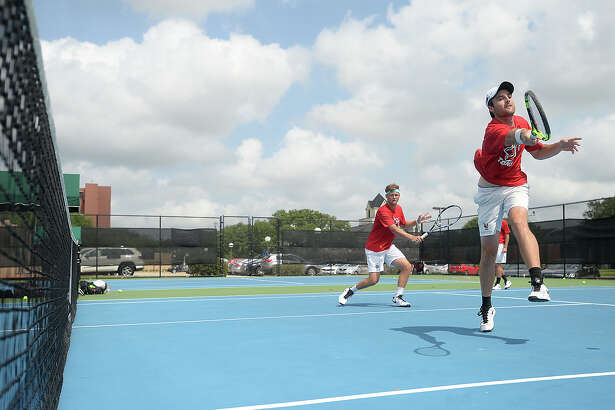 Lamar's tennis team gets in practice Tuesday. They recently won a conference title and continues to prepare for the next round of competition. Photo taken Tuesday, May 10, 2016 Kim Brent/The Enterprise